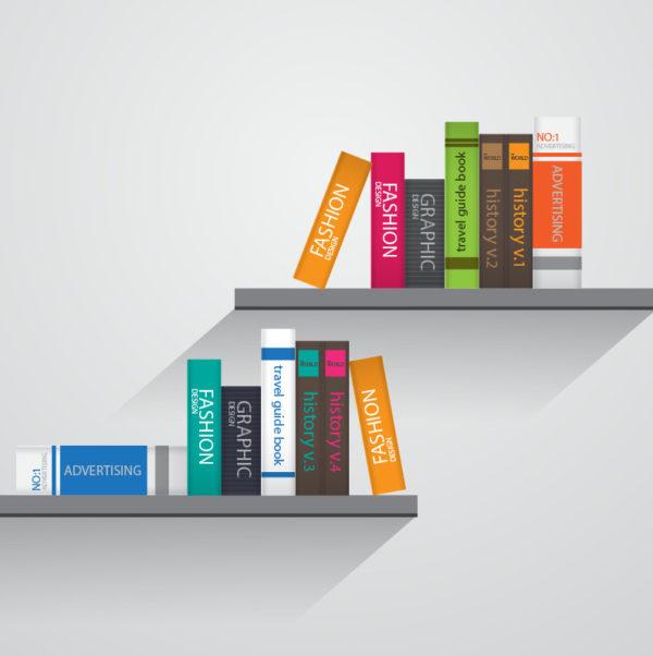 vektorové knihy na dvou poličkách