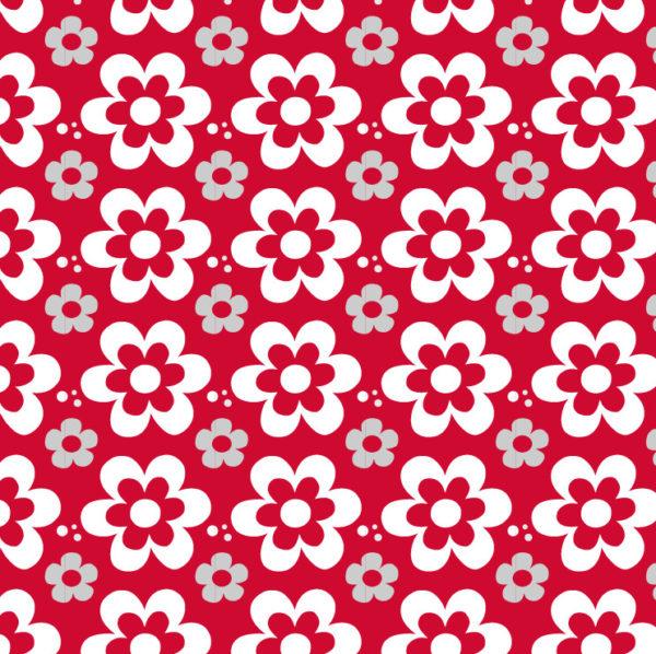 Bílé květiny na červeném pozadí