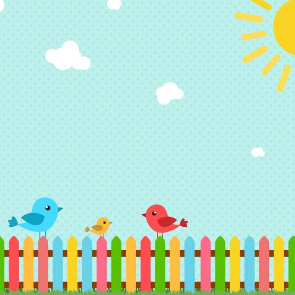 Dětský motiv ptáčků na plotě